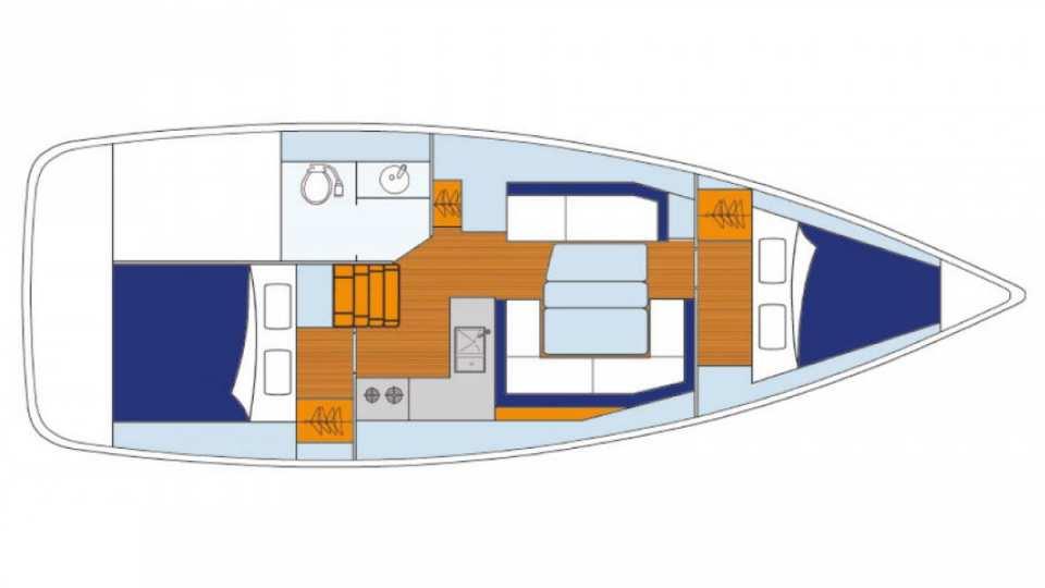 Sunsail 38_floor plan