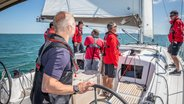 Sailor steering a Sunsail 41.0